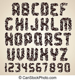 Dirty Vector Font. Grunge Letters and Numbers