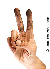 Dirty victory sign