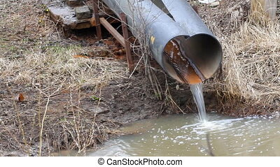 dirty water to the river on industrial from a pipe