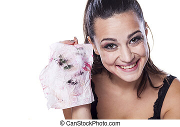 dirty wipe - nice beautiful girl shows wet wipes by which...