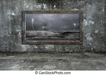Dirty wooden frame window on mossy wall with storm outside...
