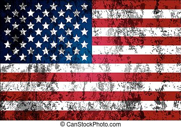 Dirty worn American flag, vector art illustration.