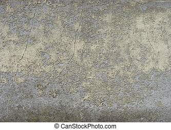 dirty worn gray blue wall with yellow peeling paint