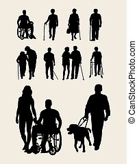 Disabilities and Elderly Silhouettes, art vector design