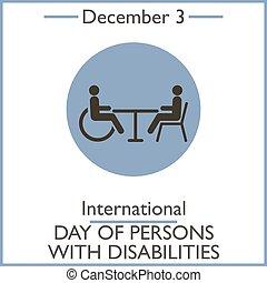 disabilities., dicembre, persone, 3, internazionale, giorno
