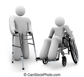 A disabled person sits in a wheelchair on white background, alongside another person with a physical handicap using a walker