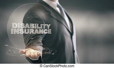 disability, страхование, бизнесмен, держа, в, рука, голограмма, технологии