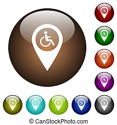 Disability accessibility GPS map location white icons on round color glass buttons