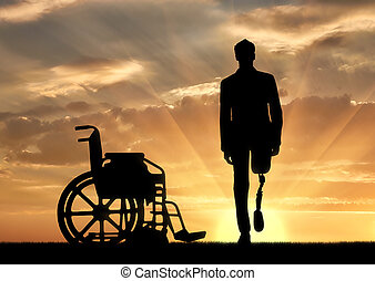 Walking is a disabled man with a prosthetic leg - Disability...