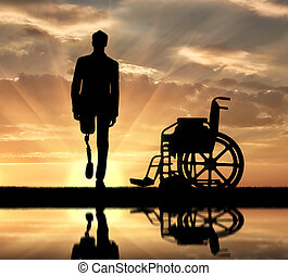 Disability and rehabilitation. Walking is a disabled man...