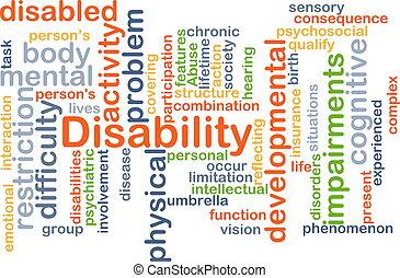 Disability background concept - Background concept wordcloud...