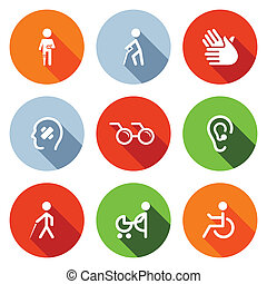 Disability flat Icons Set - Disability icon collection on a...
