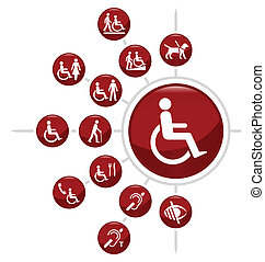 Disability icons - Red Disability related icon set isolated...