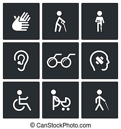 Disability Icons Set - Disability icon collection on a black...