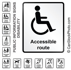 Disability Information Signs - Monochrome disability related...