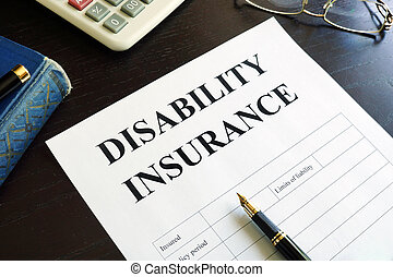 Disability Insurance on a table.