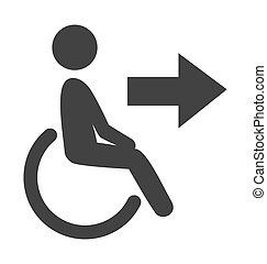 Disability man pictogram flat icon exit isolated on white