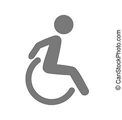 Disability man pictogram flat icon isolated on white