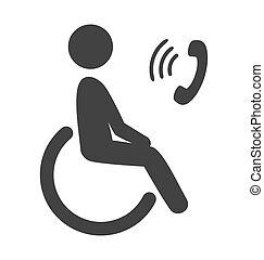 Disability man pictogram flat icon phone isolated on white