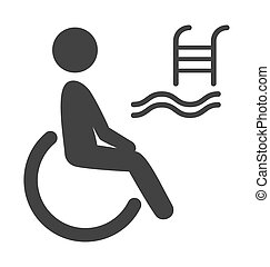 Disability man pictogram flat icon pool isolated on white