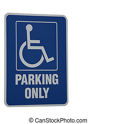 Disability Parking Only Sign on White Background