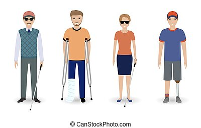 Disability people concept. Group of invalid men and women isolated on a white background.