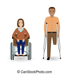 Disability people concept. Invalid woman in wheelchair and disabled man with crutches isolated on a white background.