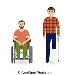 Disability people concept. Two invalid men with disabled legs isolated on a white background.