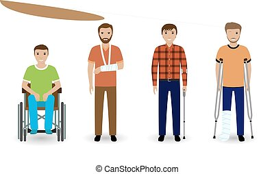 Disability people. Group of four invalid men isolated on a white background.