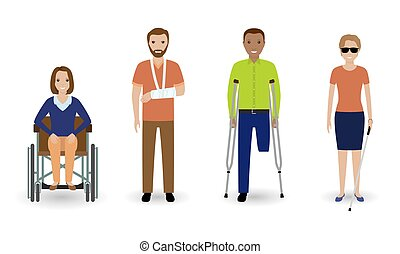 Disability people. Group of invalid men and women isolated on a white background.
