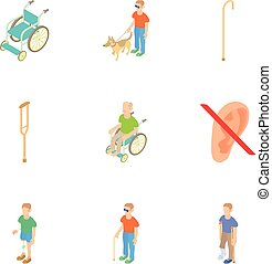 Disability people icons set, cartoon style - Disability...