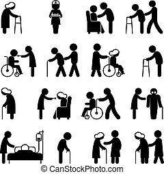 Disability people nursing and disabled health care icons. Disabled people, help disabled people patient, person disabled in wheelchair, vector illustration