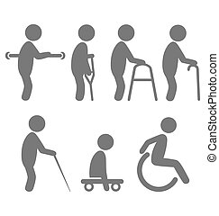 Disability people pictograms flat icons isolated on white
