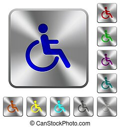 Disability rounded square steel buttons