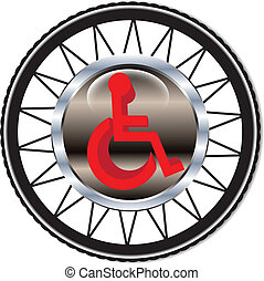 Disability sign on the background of wheels. Vector