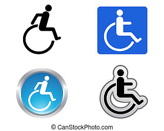 disability symbol - isolated four disability symbol on white...