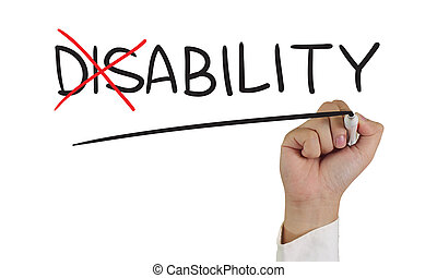 Disability to Ability - Motivational concept image of a hand...