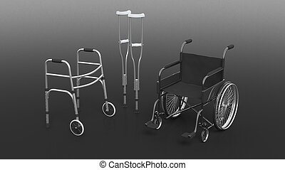 Disability wheelchair, crutch and metallic walker isolated...