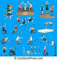 disable, akadály, sport, játékok, kitart becsül, pictogram, ikonok