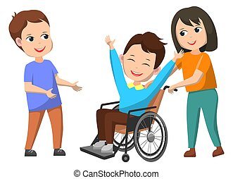 Disable kid in wheelchair smiling character vector, isolated kiddo helping invalid child. Boy with special needs and girl pushing chair. Back to school concept flat cartoon, love charity of classmates