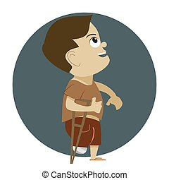 Disable child - Illustration of disabled child with cane....