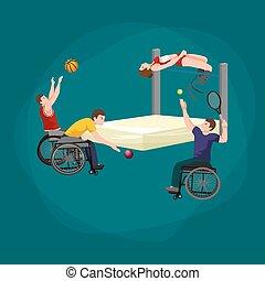 Disable Handicap Sport Games Stick Figure Pictogram Icons