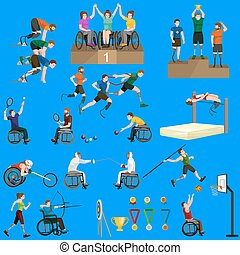 Disable Handicap Sport Games Stick Figure Pictogram Icons...
