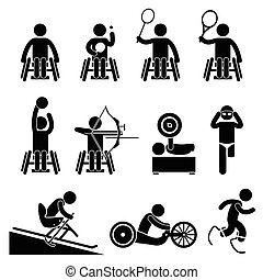 A set of human pictogram representing paralympic disable games handicap sports such as table tennis, badminton, tennis, basketball, archery, weightlifting, swimming, skiing, track race, running, and sprinting.