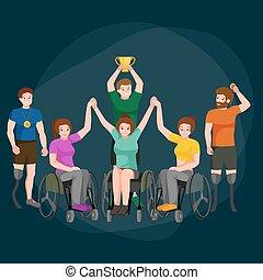 Disable Handicap Sport Paralympic Games Stick Figure...