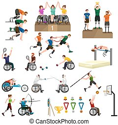 Disable Handicap Sport Paralympic Games Stick Figure...