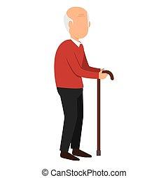 disable, vieux, isolé, homme, icône