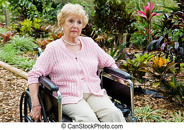 Disabled and Alone - Disabled senior woman alone and...