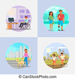 Disabled and handicapped people vector flat illustration -...
