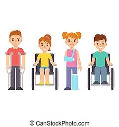 Disabled and injured cartoon children